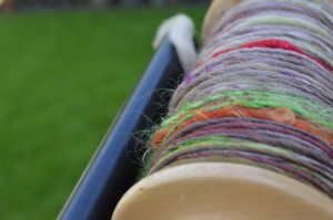 First hand spun wool in the yard.