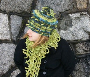 Carmen wearing a Pagoda Hat and Fern Scarf